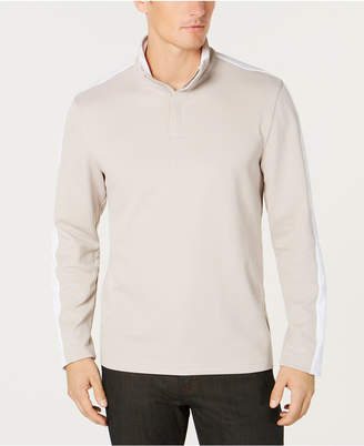 Alfani Men's Ottoman Stripe Quarter-Zip Mock-Collar Sweater