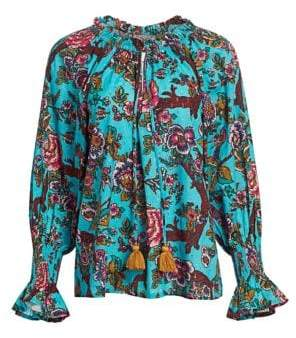 Figue Women's Liana Floral Blouse - Turquoise - Size XS