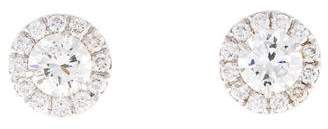18K Diamond Halo Stud Earrings