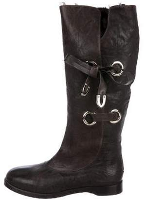 Jimmy Choo Leather Knee-High Boots Brown Leather Knee-High Boots