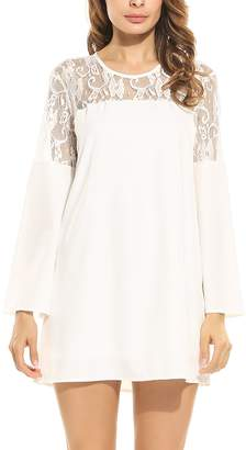 eaneor Woen Flare Long Sleeve Lace Crochet Loose Tunic Dress Above Knee Length