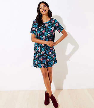 LOFT Petite Floral Short Sleeve Swing Dress