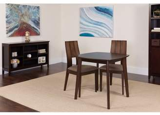 Flash Furniture Greenwich 3 Piece Espresso Wood Dining Table Set with Curved Slat Keyhole Back Wood Dining Chairs - Padded Seats