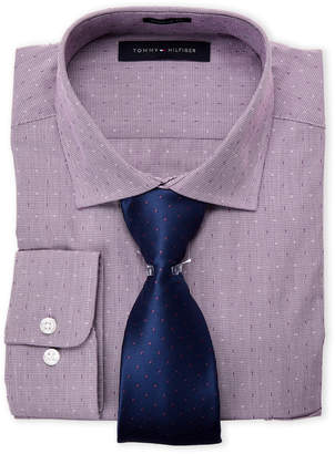 Tommy Hilfiger Deep Plum Speckled Regular Fit Dress Shirt & Tie Box Set