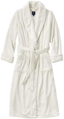 Lands' End - Cream Petite Plush Fleece Dressing Gown