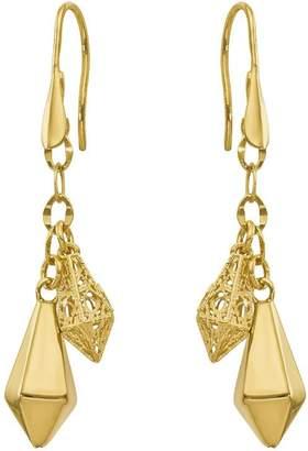 14K Kite-Shaped Dangle Shepherd's Hook Earrings