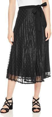 Sandro Pleated Eyelet Lace Midi Skirt