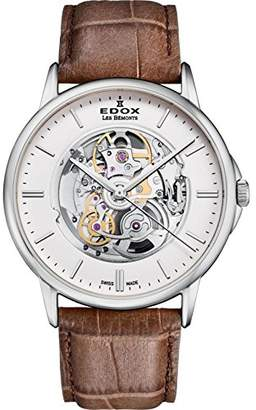 Edox Men's 'Les Bemonts' Swiss Automatic Stainless Steel and Leather Dress Watch