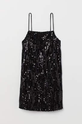 H&M Short Sequined Dress - Black