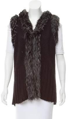 Rachel Zoe Faux Fur-Trimmed Knit Cardigan