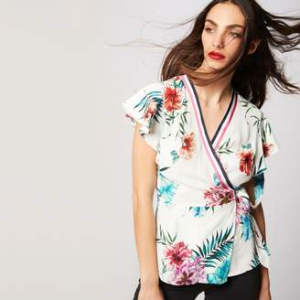 728940a78b3 Morgan Tropical Print Short-Sleeved Tie Front Blouse