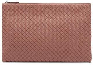 Bottega Veneta Intrecciato Leather Pouch - Womens - Dark Pink