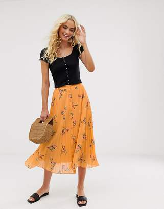 And other stories &  floral print midi skirt in orange