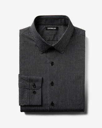 Express Classic Fit Striped Cotton Point Collar Dress Shirt