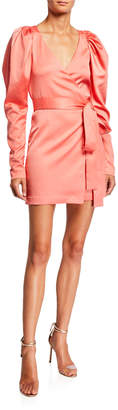 Rotate by Birger Christensen Number 31 Puff-Sleeve Short Wrap Dress