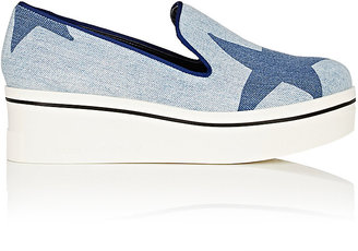 Stella McCartney Women's Binx Denim Platform-Wedge Sneakers $565 thestylecure.com