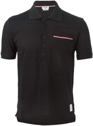 Thom Browne Short Sleeve Polo Shirt In Dark Grey Pique