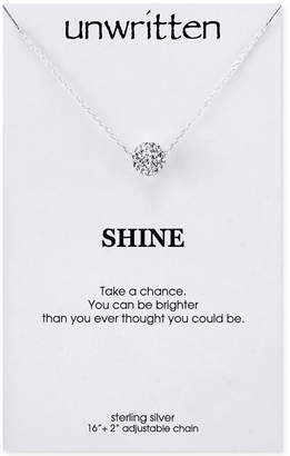 Unwritten Crystal Ball Pendant Necklace in Sterling Silver (1-1/2mm)