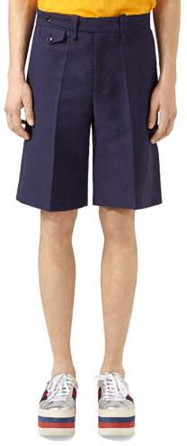 Gucci Washed Cotton Shorts, Blue
