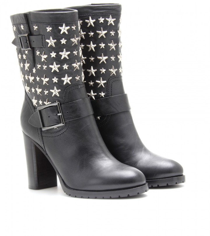 Jimmy Choo DART LEATHER BIKER BOOTS WITH STARS