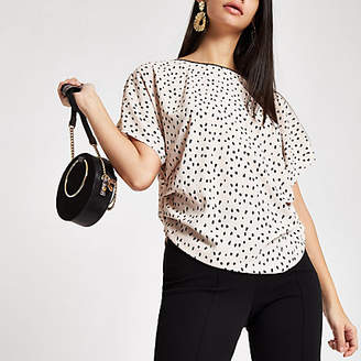 River Island Beige spot print side ruched top