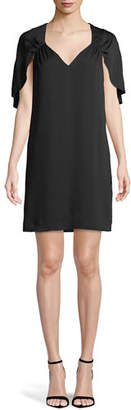 Milly Romy V-Neck Cape-Back Stretch-Silk Sheath Dress