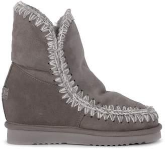 Mou Eskimo Inner Wedge Short Grey Sheepskin Ankle Boots