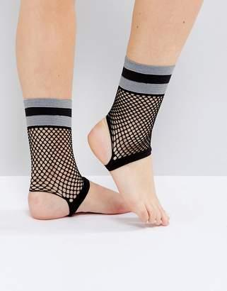 Asos DESIGN Stripe Welt Fishnet Stirrup Socks