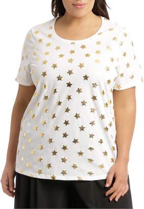 Essential Short Sleeve Tee White/Gold Foil Star R4010WN