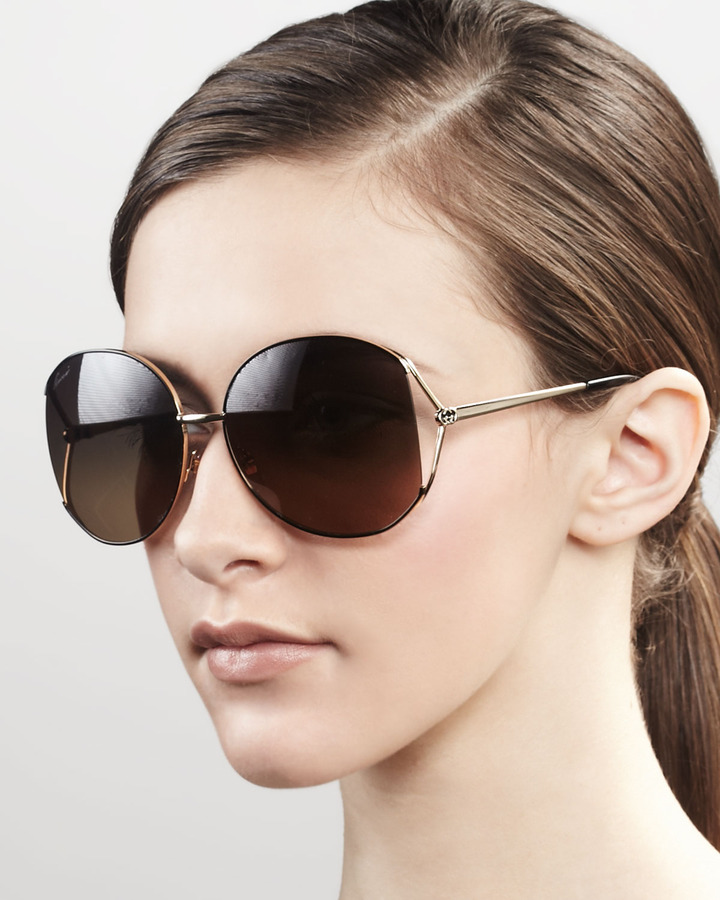 Gucci Metal Round Sunglasses, Gold