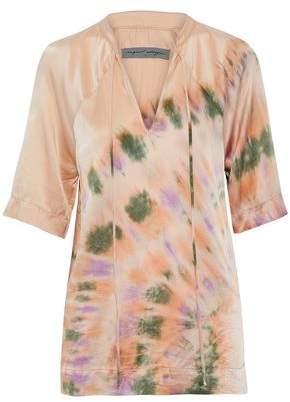 Raquel Allegra Tie-Dyed Crinkled-Silk Shirt