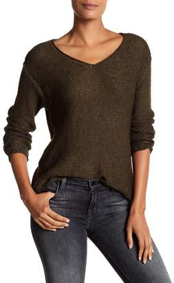 Contemporary Designer V-Neck Sweater with Faux Suede Elbow Patches $90 thestylecure.com