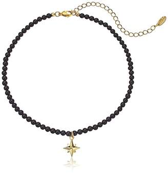 """Ettika Absolute Magnitude Onyx and Gold Choker Necklace, 12"""" + 3.5"""" Extender"""