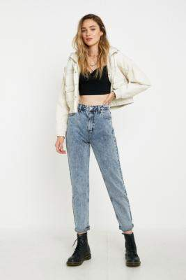 BDG Acid Wash Mom Jeans - blue 24W 30L at Urban Outfitters