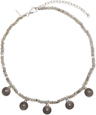 "Electric Picks Beaded Labradorite Charm Necklace ""Layla"""