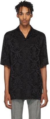 Versace Black Silk Damask Short Sleeve Shirt