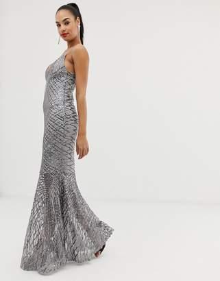 Club L London swirl detail sequin maxi dress