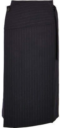 Joseph Aiken Pinstriped Wool Wrap Skirt - Navy