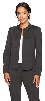 Kasper Women's Petite Size Ponte Collarless Flyaway Jacket
