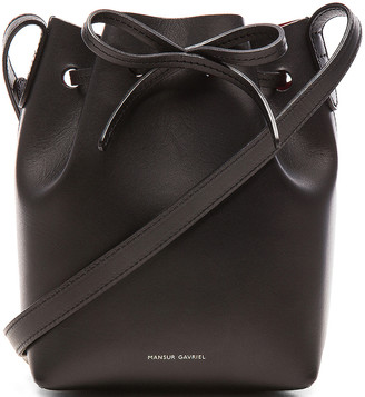 Mansur Gavriel Mini Mini Bucket Bag in Black & Flamma | FWRD