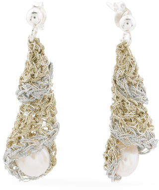 Handmade In Greece 2 Tone Sterling Silver And Pearl Earrings