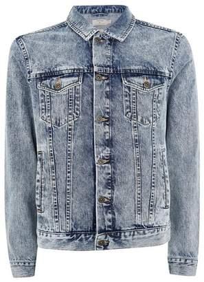 Topman Mens Blue Embroidered Mid Wash Denim Jacket