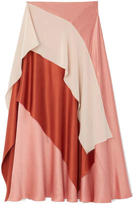 Roksanda Mahira Colorblock Ruffled Silk Skirt