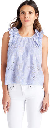 Vineyard Vines Sea Side Eyelet Sleeveless Ruffle Top