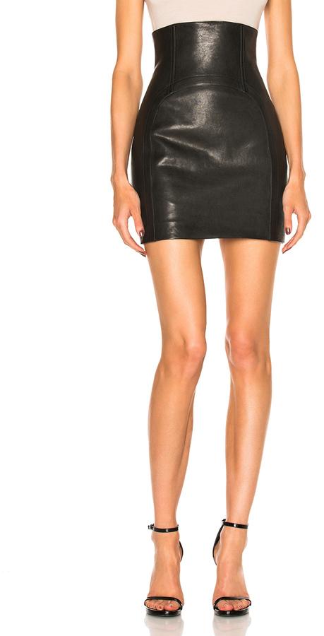 Saint LaurentSaint Laurent High Waisted Leather Mini Skirt