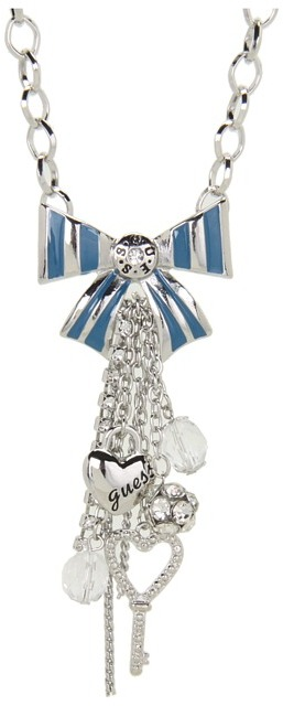 GUESS Bow Charmy Y Necklace (Silver/Blue) - Jewelry