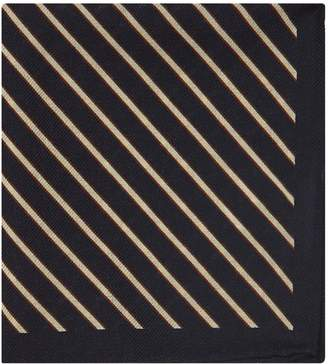 Reiss Cameron - Wool Striped Pocket Square in Navy