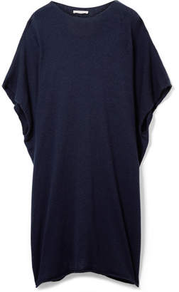 The Row Cafty Cashmere And Silk-blend Poncho - Navy