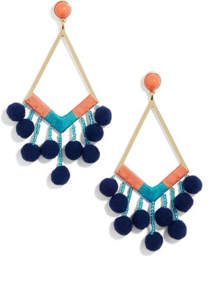 Solange Pom Pom Earrings $38 thestylecure.com