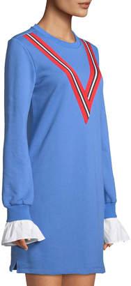 ENGLISH FACTORY Varsity Stripe Flare-Sleeve Knit Shirt Dress